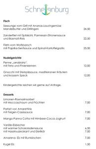 Gut lesbare Speisekarte im Restaurant der Schnellenburg in Düsseldorf