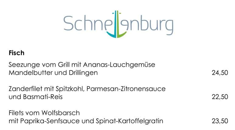 Speisekarte mit großen Buchstaben - Schnellenburg Düsseldorf