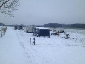 Mobile Schweinställe im Winter