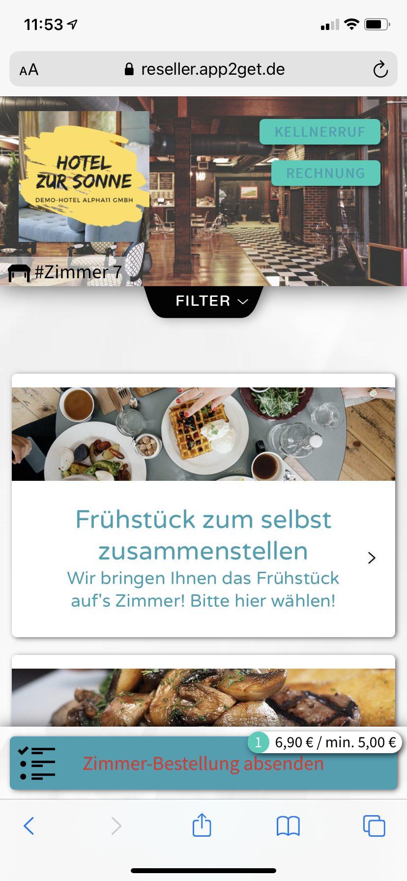 Mit app2get bestellt der Gast bequem das Frühstück vom Hotel-Zimmer