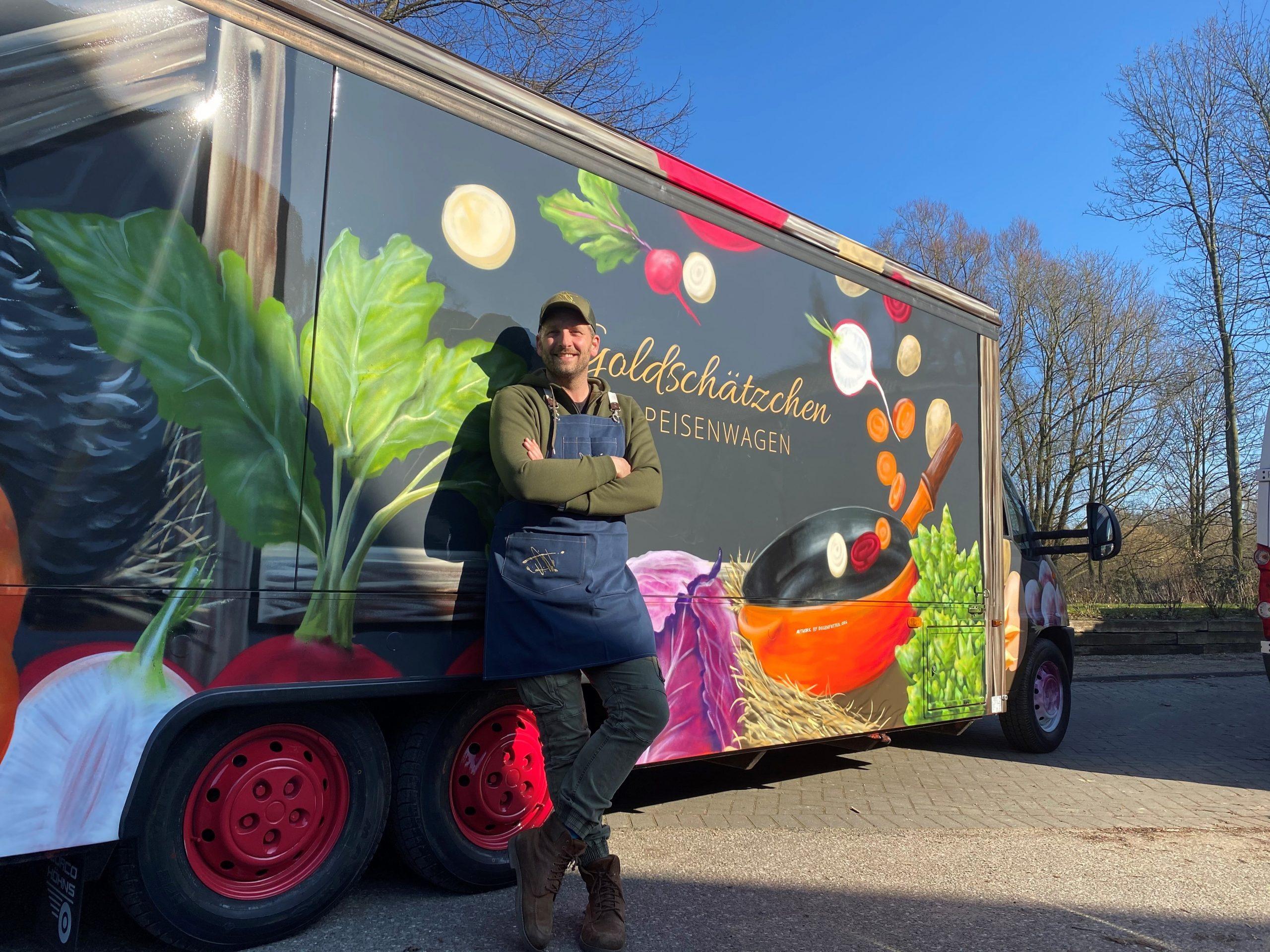 Goldschätzchen Speisenwagen bringt Restaurant-Genuss auf den Wochenmarkt