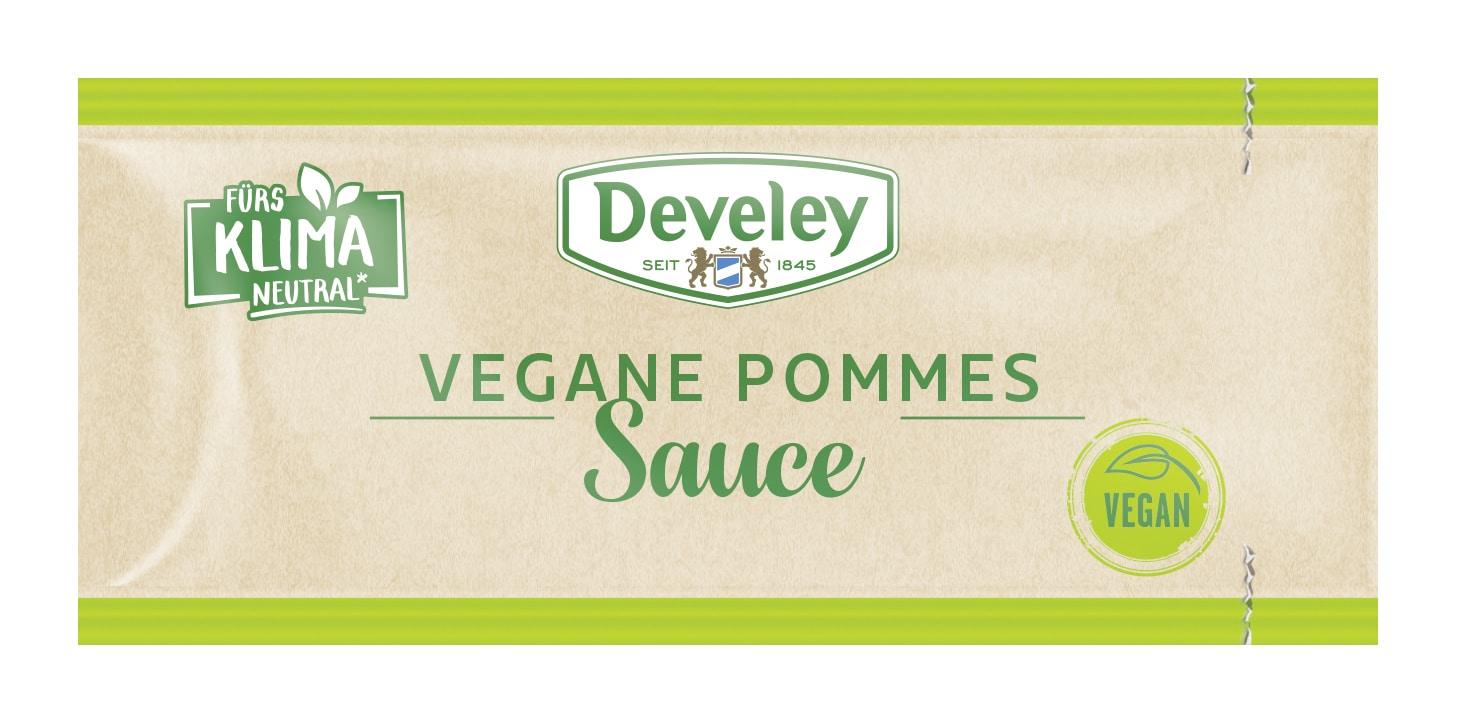 Vegan und klimaneutral: Die neue Develey Pommes Sauce im 20ml-Portionsbeutel