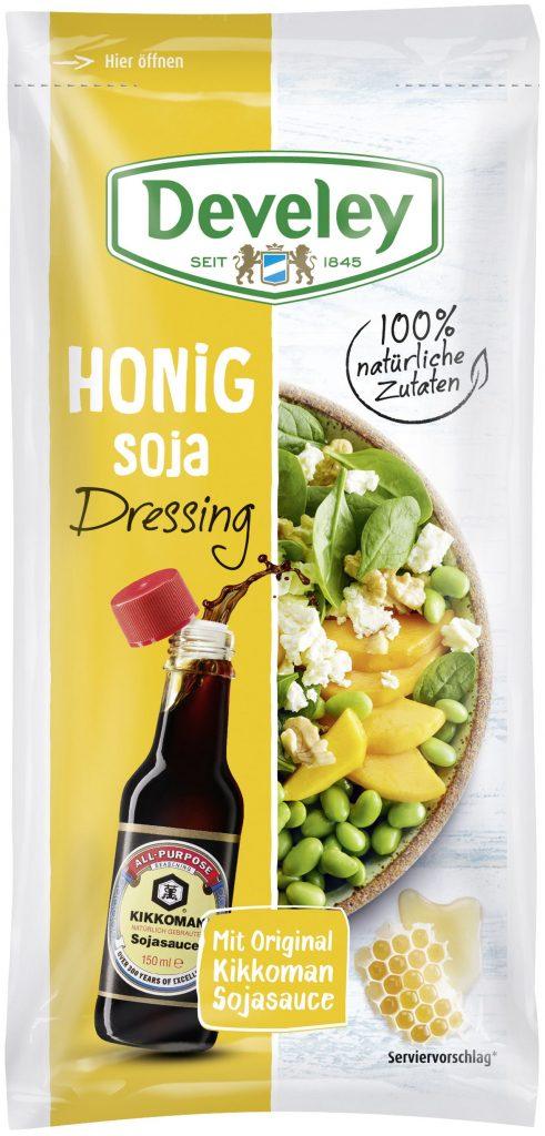 Die Soja-Dressings ergänzen ab April das Develey Dressing-Portfolio im 75 ml-Beutel. Ob zum Picknick mit Freunden, für Take Away Gerichte oder für den Lunch im (Home-)Office.